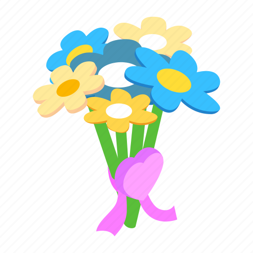 bouquet, decoration, floral, flower, isometric, love, shadow icon