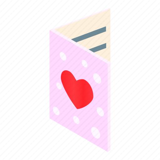 card, compliments, feelings, greeting, greetings, heart, isometric icon