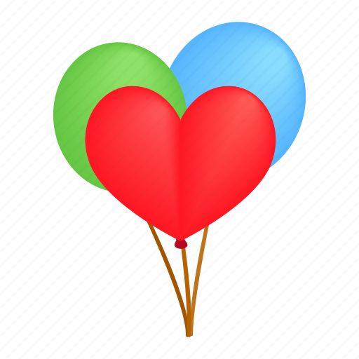 air, balloon, birthday, decoration, greeting, heart, isometric icon