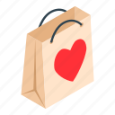 bag, gift, heart, isometric, label, marketbuy, ribbon icon