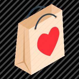 bag, gift, heart, isometric, label, marketbuy, ribbon icon
