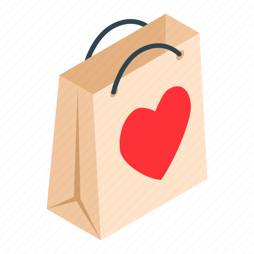 Bag, gift, heart, isometric, label, marketbuy, ribbon icon - Download on Iconfinder