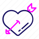 arrow, color, heart, love, romance, valentine icon