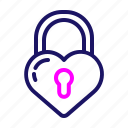color, heart, lock, love, romantic, valentine, valentines icon