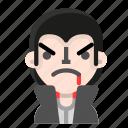 angry, avatar, dracula, emoji, halloween, horror, vampire icon