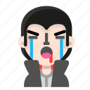 avatar, crying, dracula, emoji, halloween, horror, vampire icon