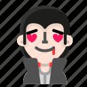 emoji, in, love, vampire icon