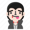 avatar, dracula, emoji, halloween, horror, tongue, vampire icon