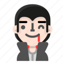 avatar, dracula, emoji, halloween, horror, vampire, wink icon