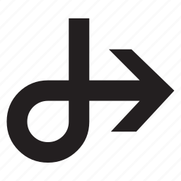 arrow, back, line, right icon