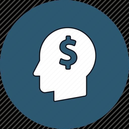brain, creativity, dollar, head, idea, imagination, money icon