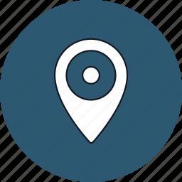 gps, location, map, navigation, pin, round, web icon