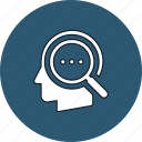 find, head, idea, magnifier, search, thinking icon
