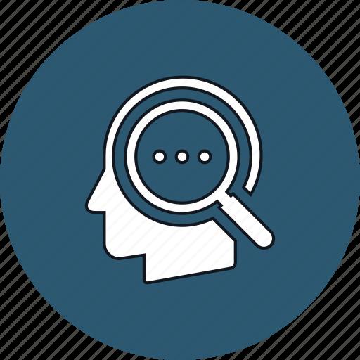 head, idea, magnifier, thinking icon