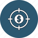 aim, dollar, finance, target icon
