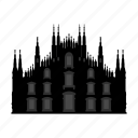 building, cathedral, church, construction, house, milan, religion icon