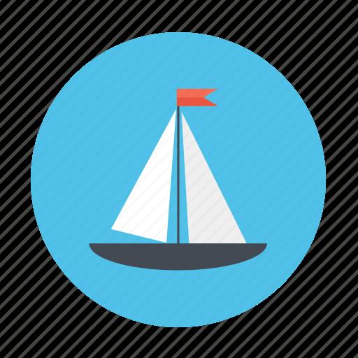 boat, sail, sail boat, sailing, sea, water icon