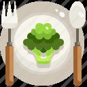 eating, food, fork, healthy, leaves, vegan, vegetarian icon