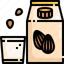 almond, diet, food, gastronomy, healthy, milk, nutrition icon