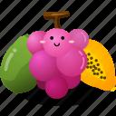 fruit, grape, papaya, vegetables icon