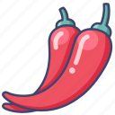 chili, chilli, pepper, spice icon