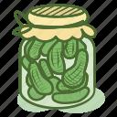 gherkin, gherkinpickles, jar, pickles, pot, vegetable icon