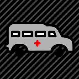 ambulance, carrige, goods, heavy, traffic, transportation, vehicle icon