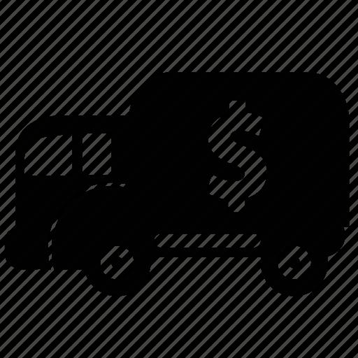car, money bank, money van, truck, van, vehicle icon