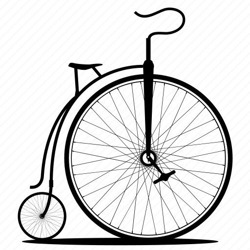 bicycle, bike, bikes, old bicycle, old bike, penny-farthing, wheel icon