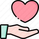 give, love, hand, heart, care