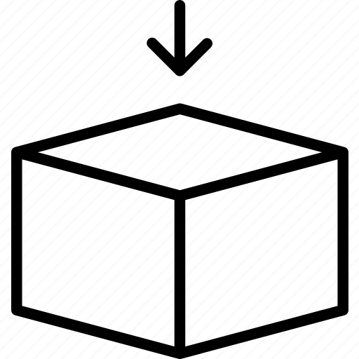 box, fill, hexahedron, insert, place, settle icon