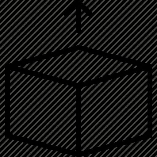 box, empty, hexahedron, lift, move, reveal icon