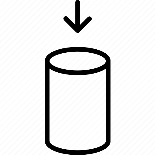 cylinder, enter, fill, insert, place, settle, store icon
