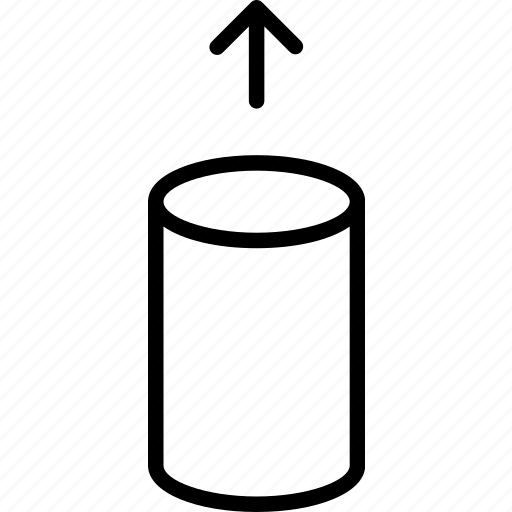 cylinder, empty, exit, lift, move, reveal, uplift icon