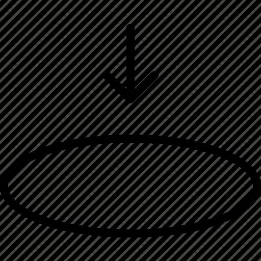 circle, elipse, enter, insert, place, settle, store icon