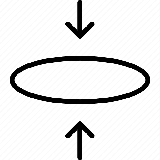 circle, compress, elipse, flatten, insert, pressure, squeeze icon