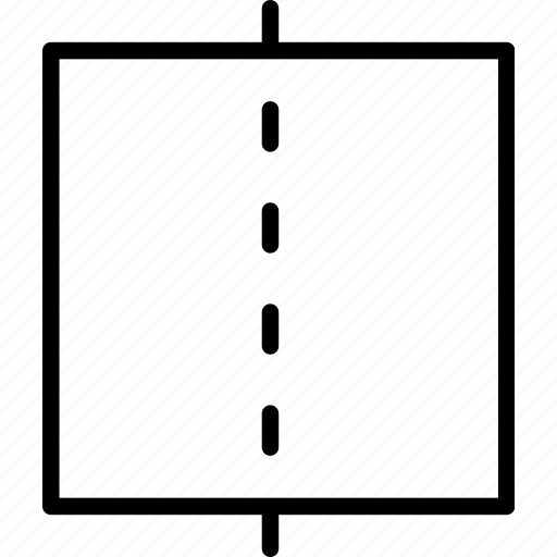 center, line, mesaure, middle, paper, square icon