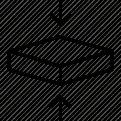 box, compress, flatten, hexahedron, pressure, square, squeeze icon
