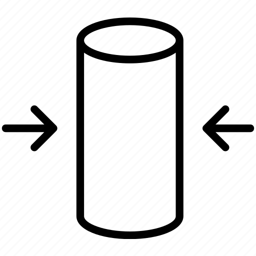 compress, cylinder, deform, pressure, shrink, squeeze, width icon