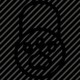animal foot, animal paw, dog paw, paw print, pet footprint icon