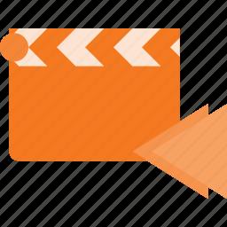 backward, clapper, clip, cut, movie icon