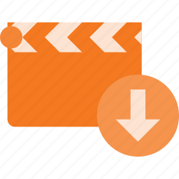 clapper, clip, cut, download, movie icon