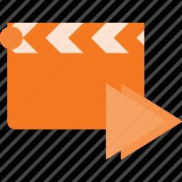 clapper, clip, cut, forward, movie icon