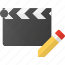 clapper, clip, cut, edit, movie icon