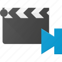clapper, clip, cut, end, movie, navigate icon