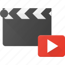 clapper, clip, cut, movie, play icon