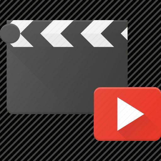 clapper, clip, cut, movie, play icon