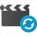 clapper, clip, cut, movie, replay icon