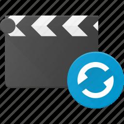 clapper, clip, cut, movie, replay icon