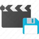 clapper, clip, cut, movie, save icon